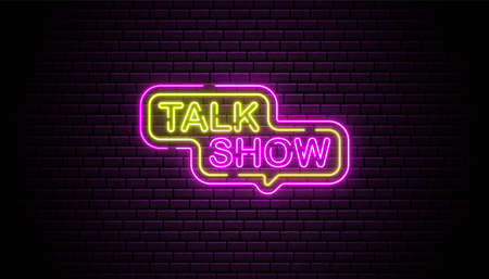 Talk show neon sign background wall template.