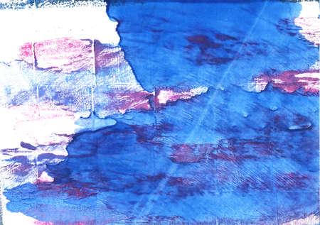 Hand-drawn abstract watercolor. Used colors: White, Bleu de France, Bright navy blue, Blue Jeans, Han blue, Blueberry, Royal blue, Cerulean blue, Brilliant azure, Violet-blue Stock Photo