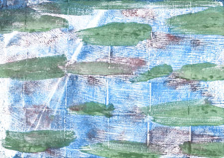 Hand-drawn abstract watercolor. Used colors: White, Morning blue, Azureish white, Cambridge Blue, Oxley, Bubbles, Alice blue, Azure mist, Eton blue, Dark sea green