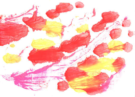sunburnt: Hand-drawn abstract watercolor. Used colors: White, Coral red, Tulip, Sunset orange, Light salmon pink, Tart Orange, Pastel red, Sunburnt Cyclops, Pastel yellow, Sunny Stock Photo