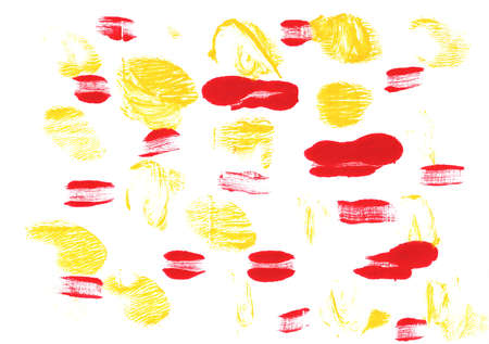 Hand-drawn abstract watercolor. Used colors: White, Banana yellow, Lust, Red, Snow, Philippine golden yellow, Light brilliant red, Very pale yellow, Dandelion, Baby powder