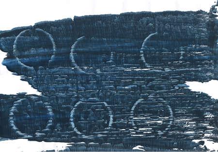 Handgezeichnetes abstraktes Aquarell. Gebrauchte Farben: Japanischer Indigo, Weiß, Yankees Blau, Gunmetal, Metallic Blau, Dunkles Schiefergrau, Holzkohle, Dunkles elektrisches Blau, Deep Space Sparkle Standard-Bild - 80492073
