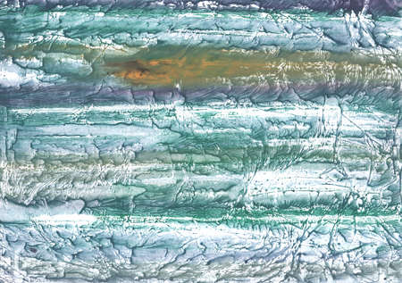 Stained watercolor painted on paper sheet. Green blue drawing. Stock Photo