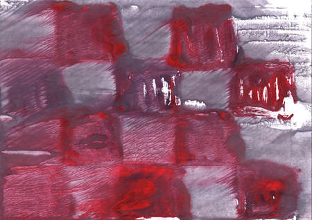 Nebulous work drawn on paper. Red Gray aquarelle picture.