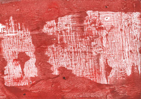 Clouded watercolor drawn on paper sheet. Indian red aquarelle picture. Stock Photo
