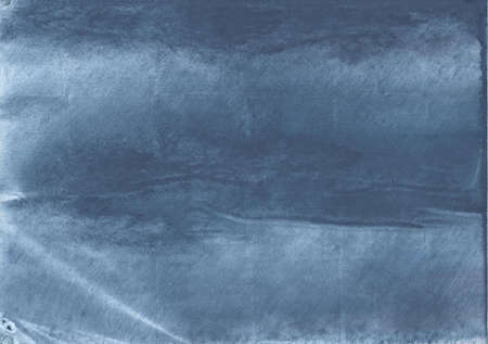 Colorful work made on paper sheet. Dark blue aquarelle art.