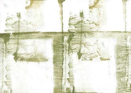 Blurred watercolor work made on paper. Dark khaki aquarelle painting.