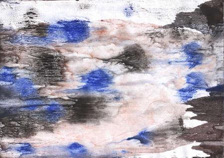 Vague work drawn on paper. Black blue peach aquarelle picture.