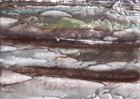 Vague work painted on paper sheet. Gray brown marble drawing.