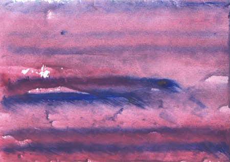 Abstract work drawn on paper. Blue purple painting.