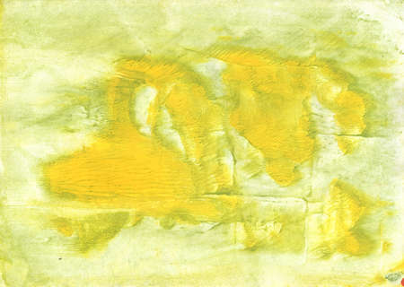 Vague watercolor work made on paper sheet. Yellow green pattern.
