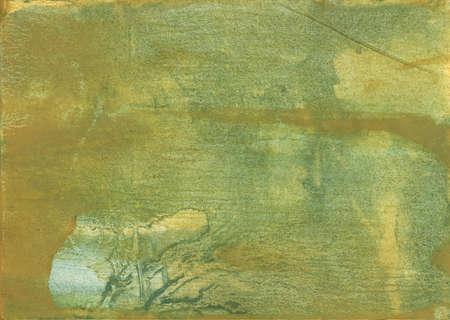 종이 시트에 그려진 Nebulous 수채화 작품. 어두운 카키색 수공예품.
