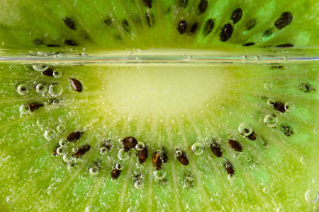 thin slice of kiwi partially submerged in mineral water bubbles photo