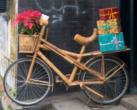 A comfortable bamboo bicylce in Hoi An, Vietnam Stock Photo