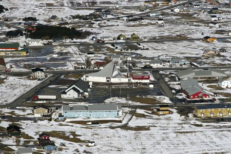 Aerial view of a town in the Canadian Arctic photo