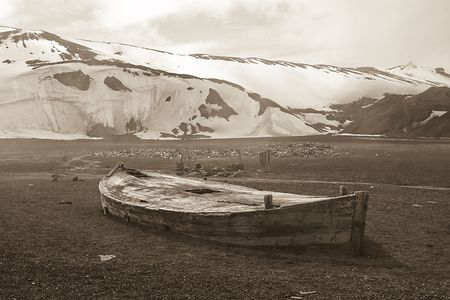 whaling: Boat at abandoned whalers station in Deception Island, Antarctica