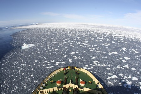 View of Antarctica from the bow of a Russian icebreaker on Antarctica photo