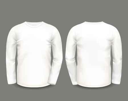 sweatshirt: Mens white sweatshirt long sleeve in front and back views. Vector template. Fully editable handmade mesh.