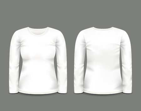 Women's white sweatshirt long sleeve in front and back views. Vector template. Fully editable handmade mesh. 일러스트