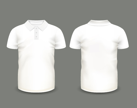 Men's white polo shirt short sleeve in front and back views. Vector template. Fully editable handmade mesh.