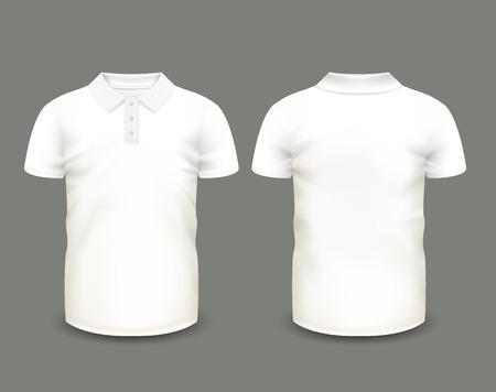 Heren wit polo shirt korte mouw aan de voorzijde en achterzijde uitzicht. Vector sjabloon. Volledig bewerkbare handgemaakte mesh.