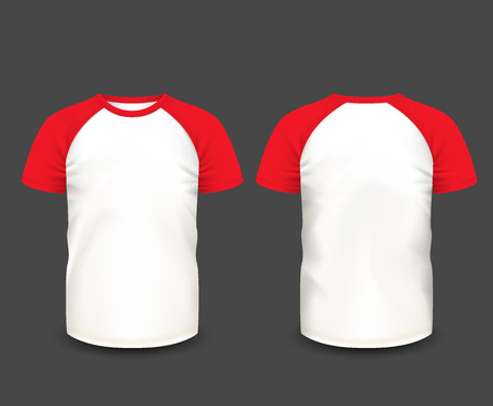 Men's raglan t-shirt in front and back views. Vector template. Fully editable handmade mesh.
