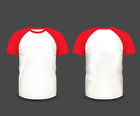 Men's raglan t-shirt in front and back views. Vector template. Fully editable handmade mesh.