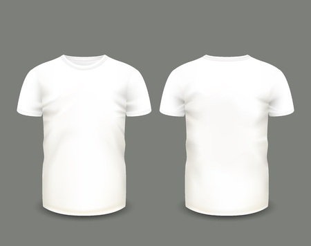 Men's white t-shirt short sleeve in front and back views. Vector template. Fully editable handmade mesh. 矢量图像