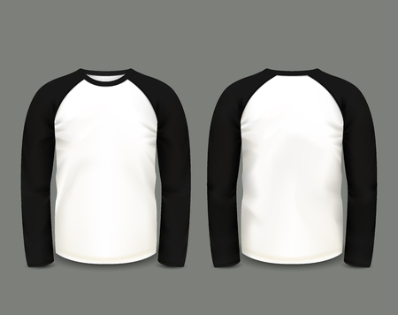 long sleeve: Mens black raglan sweatshirt long sleeve in front and back views. Illustration