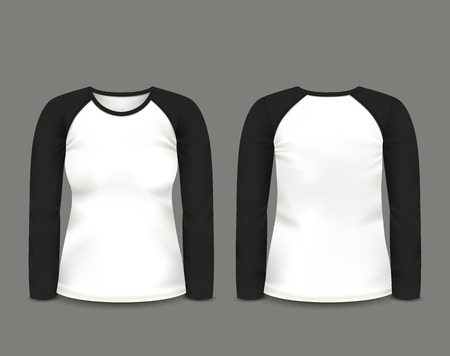 long sleeve: Womens black raglan sweatshirt long sleeve in front and back views. Illustration