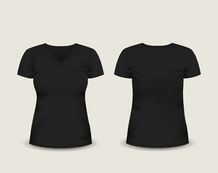 Womens black V-neck t-shirt short sleeve with in front and back views.
