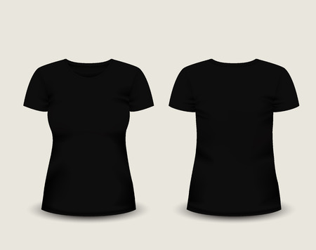 short sleeve: Womens black t-shirt short sleeve in front and back views.