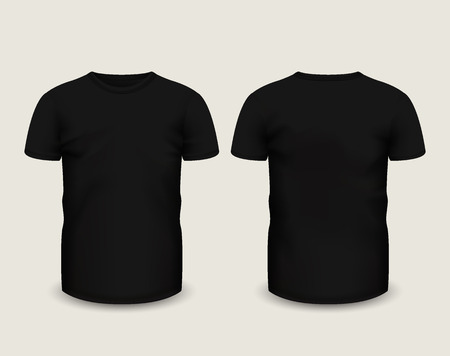 Men's black t-shirt short sleeve in front and back views.