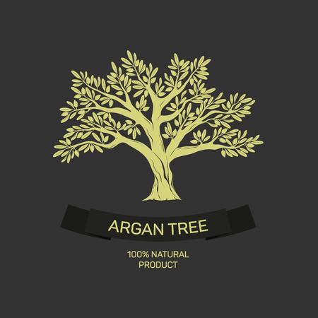 Dibujado a mano árbol de argán gráfico.