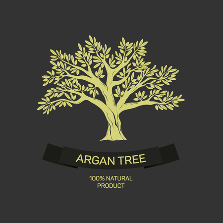 Hand drawn graphic argan tree.