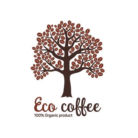 arbol de cafe: Dibujado a mano cafeto gr�fica con granos.
