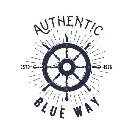 Retro nautical label with steering wheel, sunburst and lettering. Vector illustration for label, t-shirt print, vintage badges and logo design.
