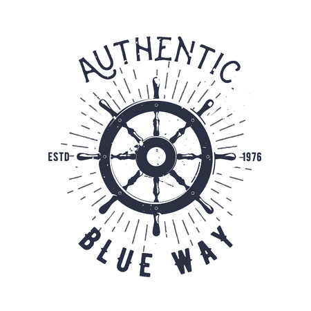 Retro nautical label with steering wheel, sunburst and lettering. Vector illustration for label, t-shirt print, vintage badges and logo design.