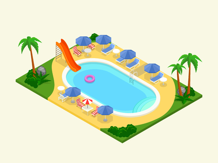 seaside resort: Realistic isometric outdoor waterpool. Vector illustration. 3D design for infographics and map creation. Summer vacation concept. Stock Photo
