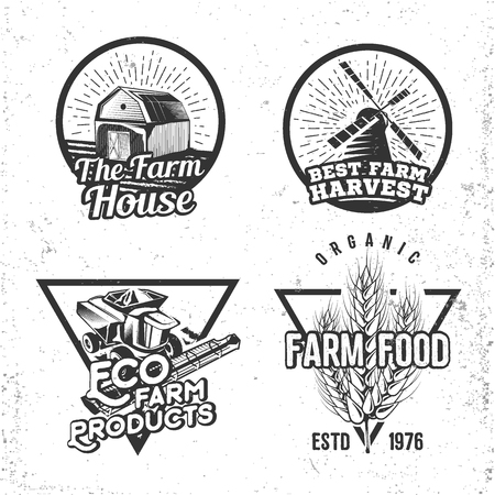 farmhouse: Set of  farmhouse concepts. Labels in retro vintage style for natural, organic products and homemade food. Vector illustration. Stock Photo
