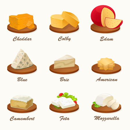 blue cheese: Set of different kinds of cheese on cutting board. Realistic vector illustration. Cheese Collection.