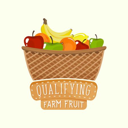 farm shop: Painted design of full fruit basket with frame and lettering. Vector illustration for food and drink design, farm shop, branding, sticker and label design.