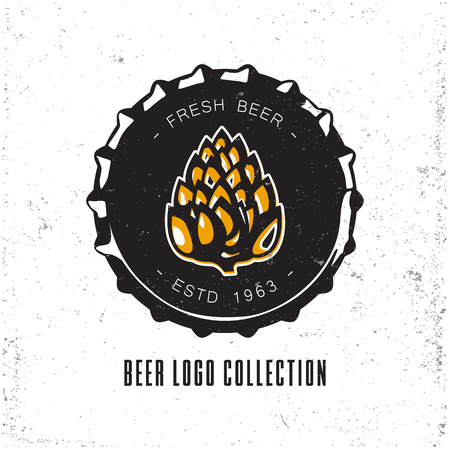 Creative logo design with beer bottle cap.  illustration. Designed to label, emblem or badge for brewery, beerhouses and pubs.