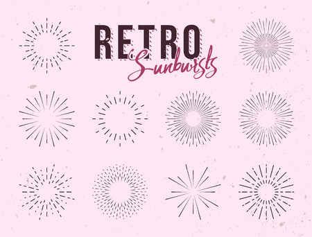 Set of vintage linear sunbursts. Hand-drawn  illustration. Starbursts elements for logo design, labels or badges. Vettoriali