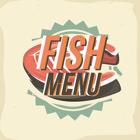 Creative design with salmon steak. Vector illustration. Designed to label, emblem design for restaurant menu, bistro, snack bar or pizzeria.