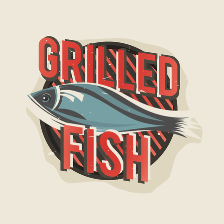 bistro cafe: Creative design with grilled fish. Vector illustration. Designed to label, emblem design for restaurant menu, bistro, cafe or pizzeria.