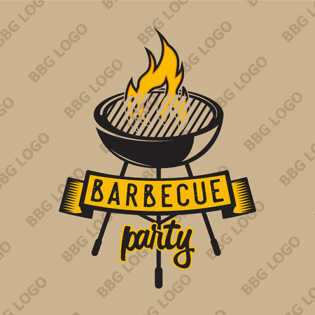 snack bar: Retro design with bbq grilled and flame. Vector illustration. Bbq label used for advertising barbecue house, steak house, snack bar or restaurant menu.