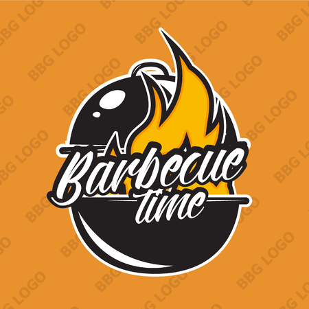 snack bar: Retro barbecue design with fire. Vector illustration. Bbq label used for advertising bbq house, steak house, snack bar or restaurant menu. Illustration