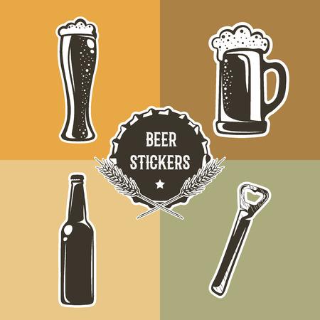 Retro conjunto con elementos de la cerveza para el diseño. Ilustración del vector con una pinta, un vaso de cerveza, botellas y abrelatas. pegatinas de cerveza utilizan para la publicidad de bebidas, cervecería, bar, pub o restaurante.