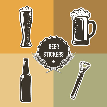pint: Retro set with beer elements for design. Vector illustration with pint, glass of beer, bottle and opener. Beer stickers used for advertising beverage, brewery, bar, pub or restaurant.